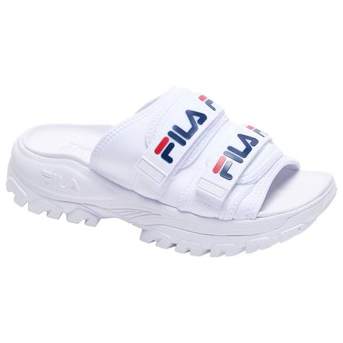 Fila Womens Fila Outdoor Slide - Womens Shoes White/Navy/Red Size 06.0