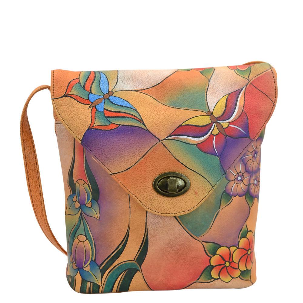 Anna by Anuschka V-Shaped Flap Bag - Butterfly Garden; Size: No Size