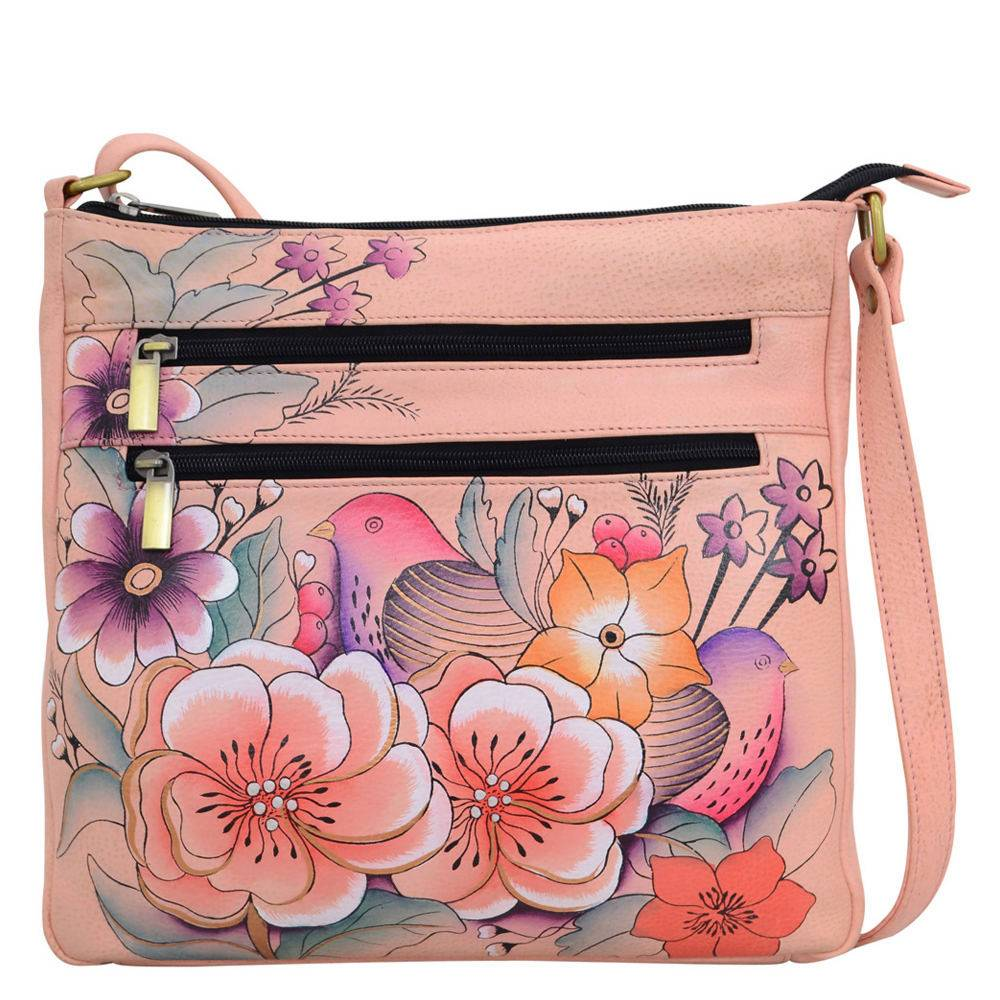 Anna by Anuschka Medium Organizer Crossbody Bag - Flowery Garden/Pink; Size: No Size