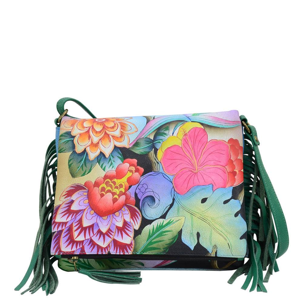 Anna by Anuschka Leather Fringed Flap Crossbody - Floral/Garden; Size: No Size