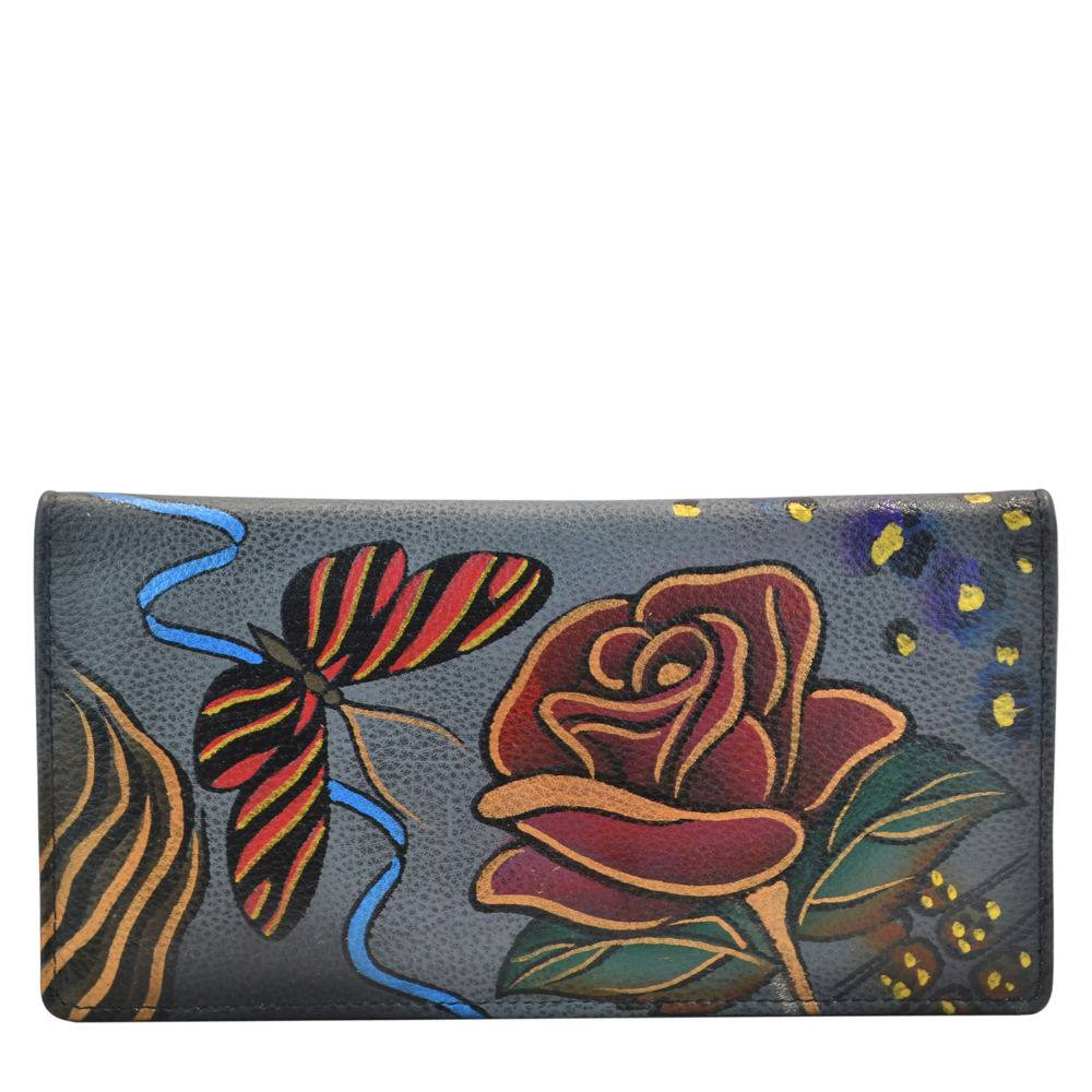 Anna by Anuschka Ladies Wallet with Rear Gusset - Flower/Safari/Grey; Size: No Size