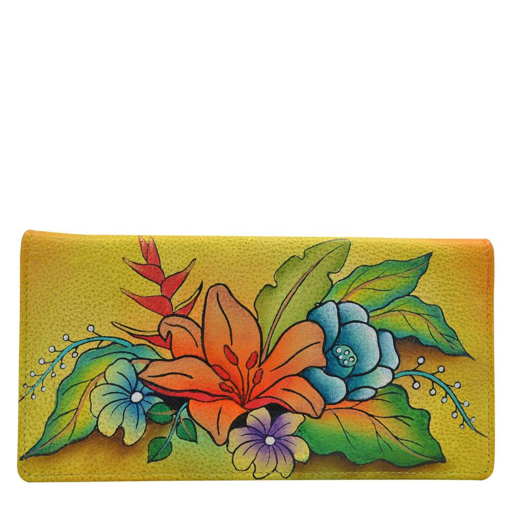Anna by Anuschka Ladies Wallet with Rear Gusset - Flowery Garden/Yellow; Size: No Size