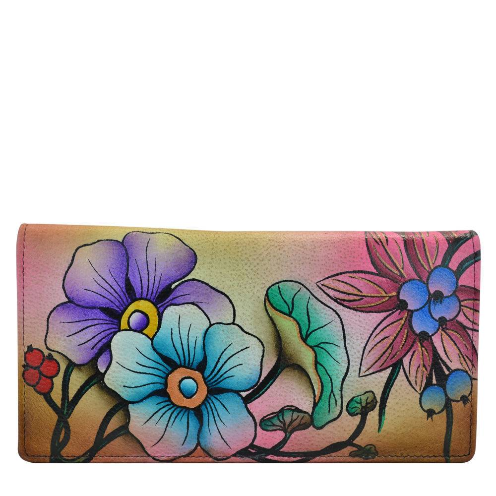 Anna by Anuschka Two Fold Slim Wallet - Floral; Size: No Size