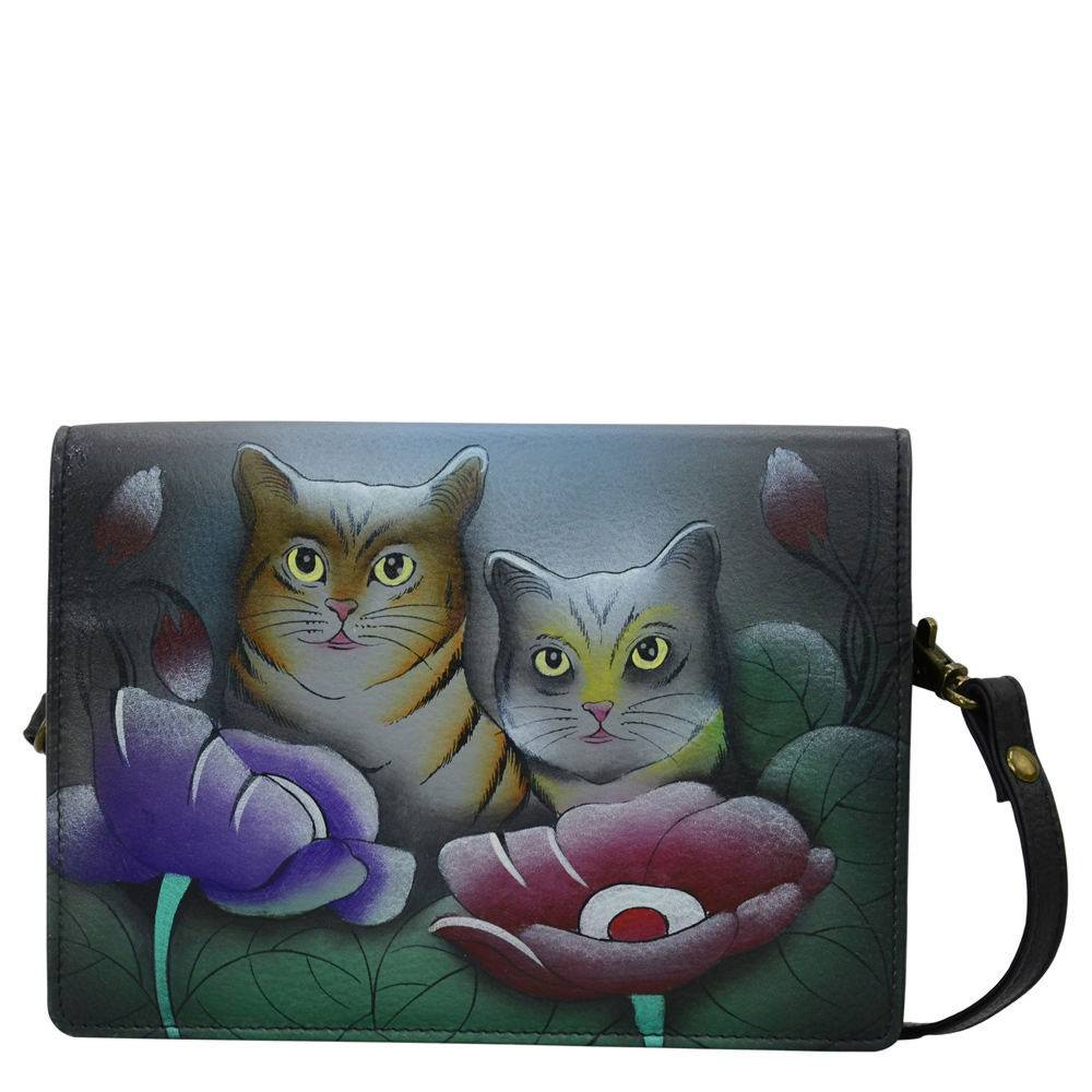 Anna by Anuschka Two Fold Wallet On A String - Cats; Size: No Size