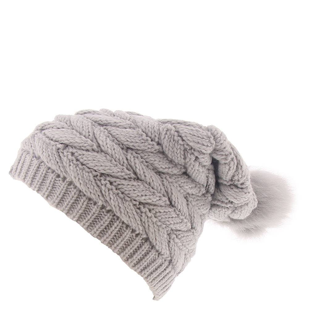 UGG® Women's Cable Hat w/Pom - Light Grey; Size: One Size