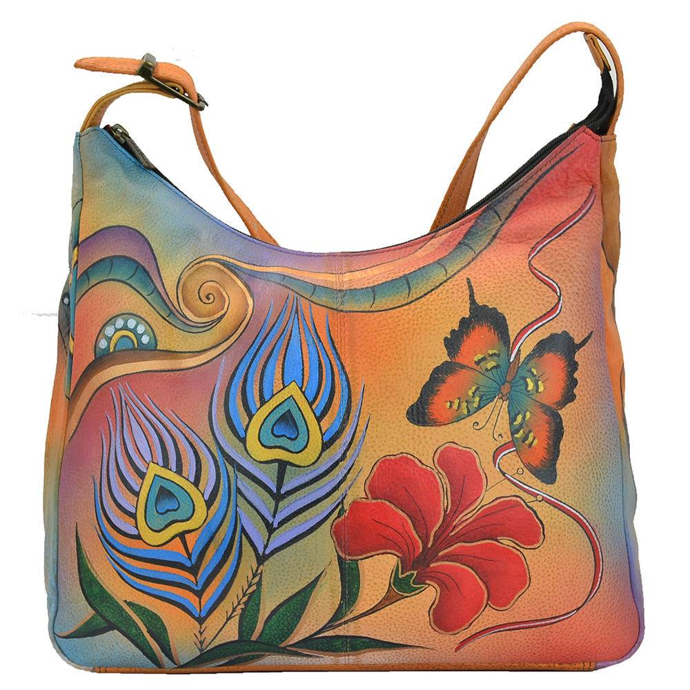 Anna by Anuschka Large Hobo - Peacock/Butterfly Garden/Orange; Size: No Size