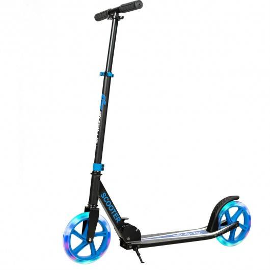 Costway Portable Folding Sports Kick Scooter w/ LED Wheels-Blue