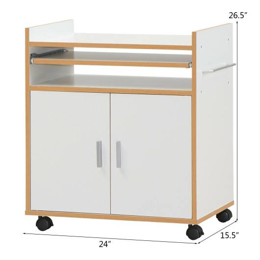 Costway Rolling Kitchen Trolley Microwave Cart Storage Cabinet with Removable Shelf