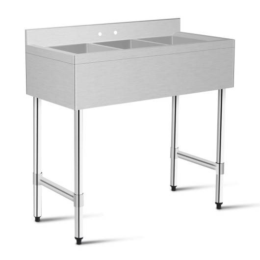 Costway 3-Compartment Stainless Steel Kitchen Commercial Sink