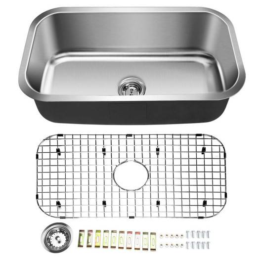 "Costway 31"" Stainless Steel Single Bowl Kitchen Sink Basin"