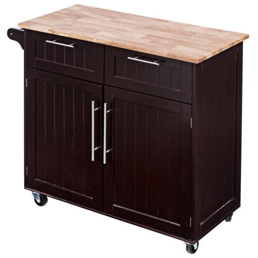 Costway Heavy Duty Utility Modern Rolling Kitchen Cabinet Cart