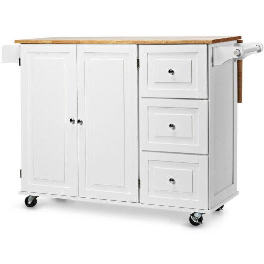 Costway Drop-Leaf Kitchen Island Trolley Cart Wood Storage Cabinet-White