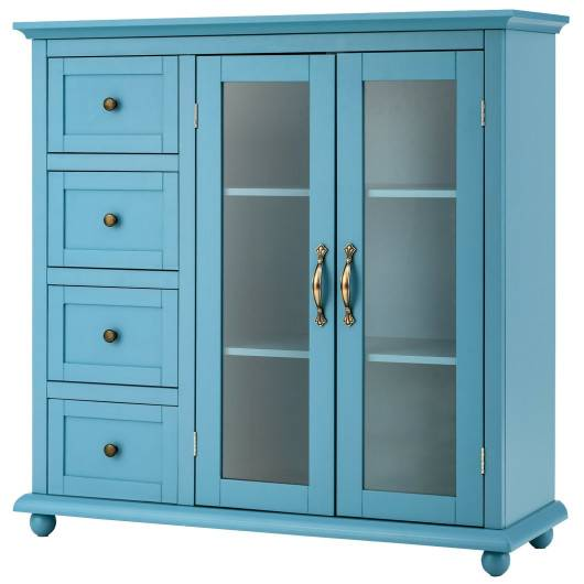 Costway Buffet Sideboard Table Kitchen Storage Cabinet with Drawers and Doors-Blue