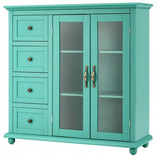 Costway Buffet Sideboard Table Kitchen Storage Cabinet with Drawers and Doors-Green