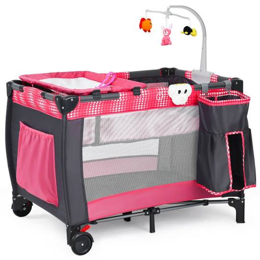 Costway Foldable Travel Baby Crib Playpen Infant Bassinet Bed w/ Carry Bag-Pink