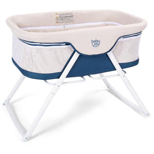 Costway Portable Newborn Rocking Foldaway Baby Bassinet Crib-Beige