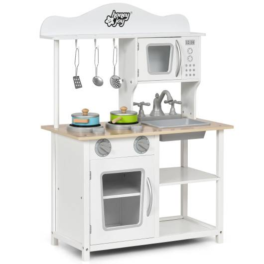 Costway Wooden Pretend Play Kitchen Set for Kids with Accessories and Sink