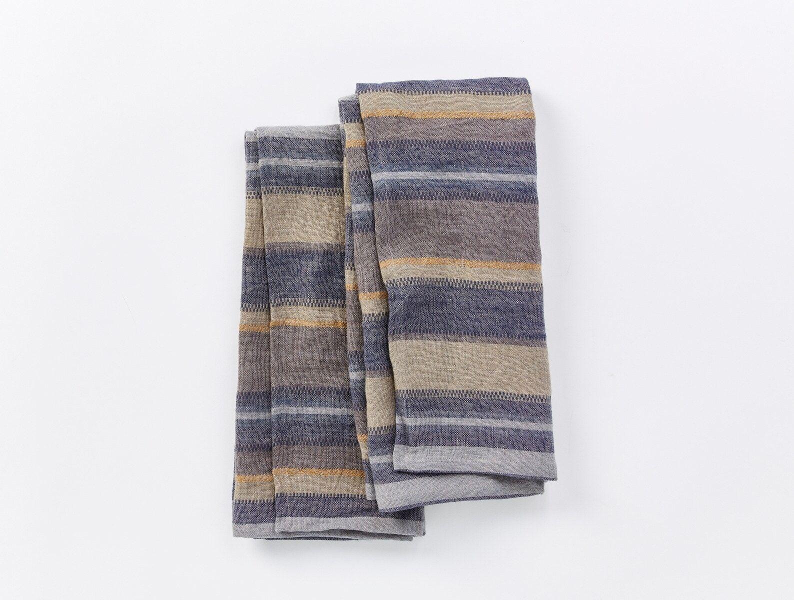 "Coyuchi   Mojave Organic Linen Kitchen Towel Set of 2 20""x30"" Indigo"