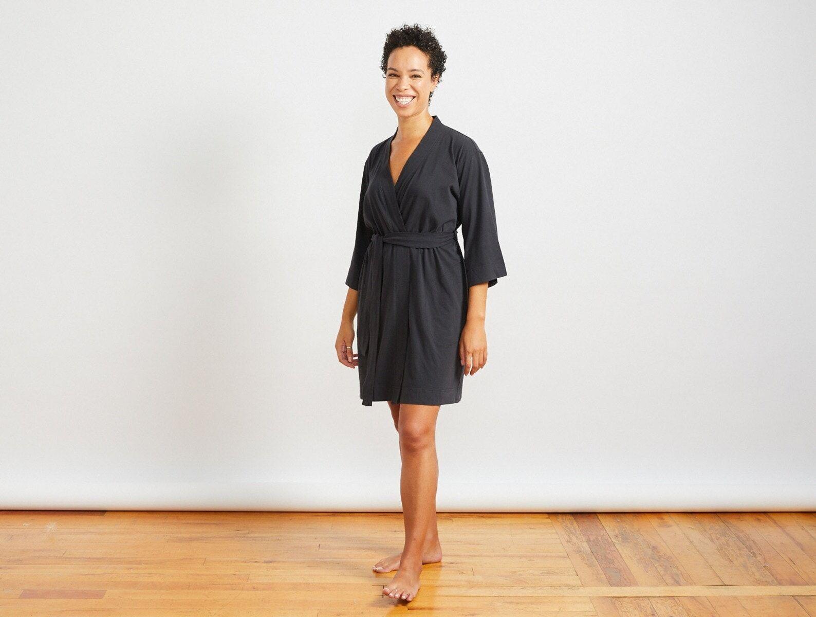 Coyuchi   Women's Solstice Organic Kimono Robe Large Deep Graphite