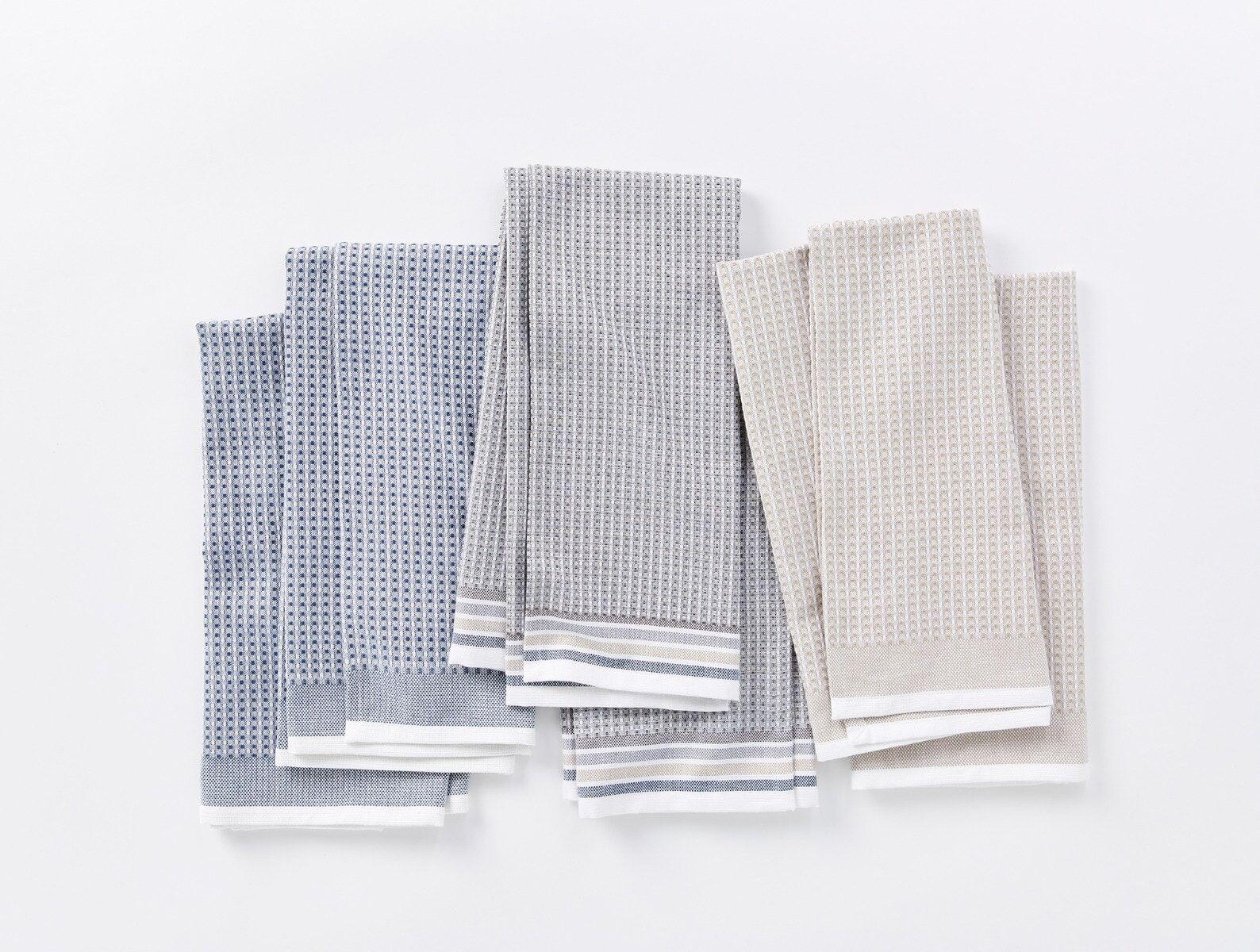 """Coyuchi   Organic Waffle Kitchen Towel Set of 6 20""""x30"""" Shoreline"""