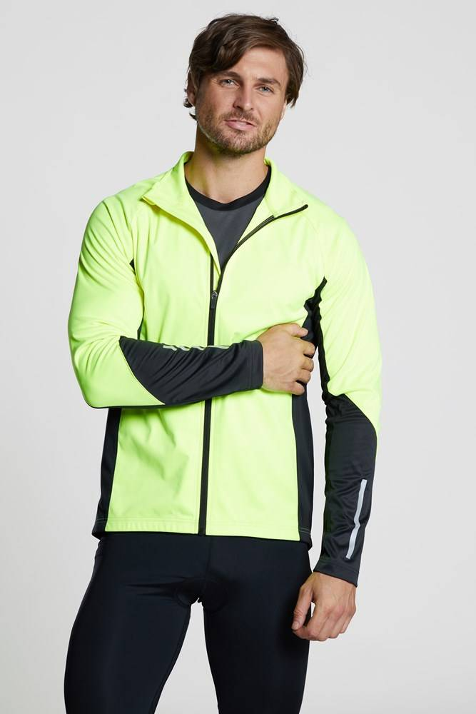 Mountain Warehouse Cycle Mens High-Vis Midlayer Top - Yellow  - Size: Large