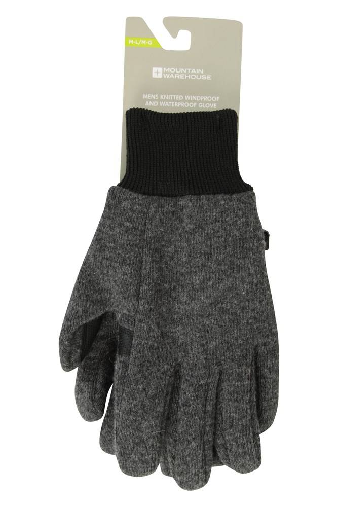 Mountain Warehouse Knitted Windproof/Waterproof Gloves - Grey  - Size: Small