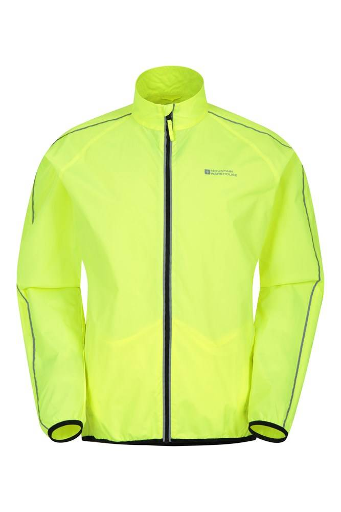 Mountain Warehouse Force Mens Reflective Water-Resistant Running Jacket - Yellow  - Size: Extra Small