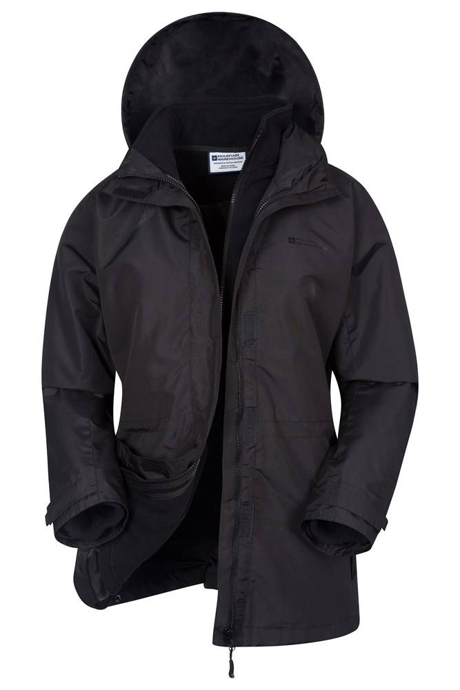 Mountain Warehouse Fell Womens Water-Resistant 3 in 1 Jacket - Black  - Size: 8
