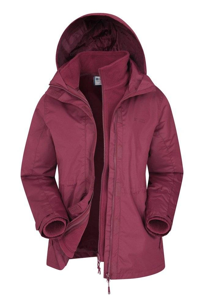 Mountain Warehouse Fell Womens Water-Resistant 3 in 1 Jacket - Burgundy  - Size: 4