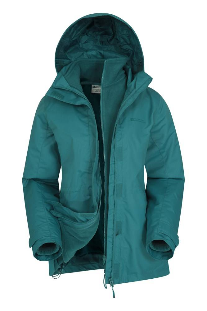 Mountain Warehouse Fell Womens Water-Resistant 3 in 1 Jacket - Green  - Size: 8