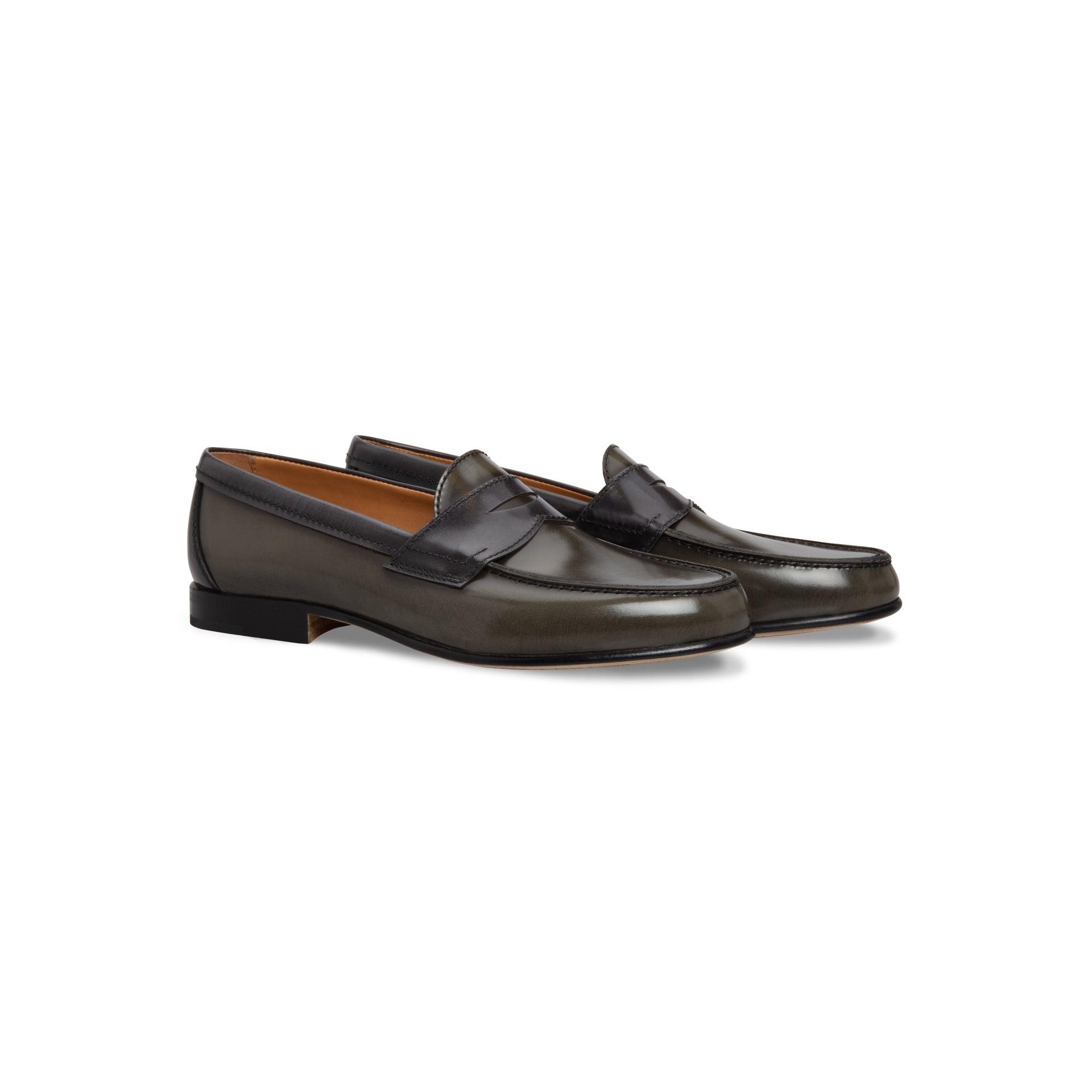 Moreschi Dark Green Brushed Calfskin Loafer Shoes