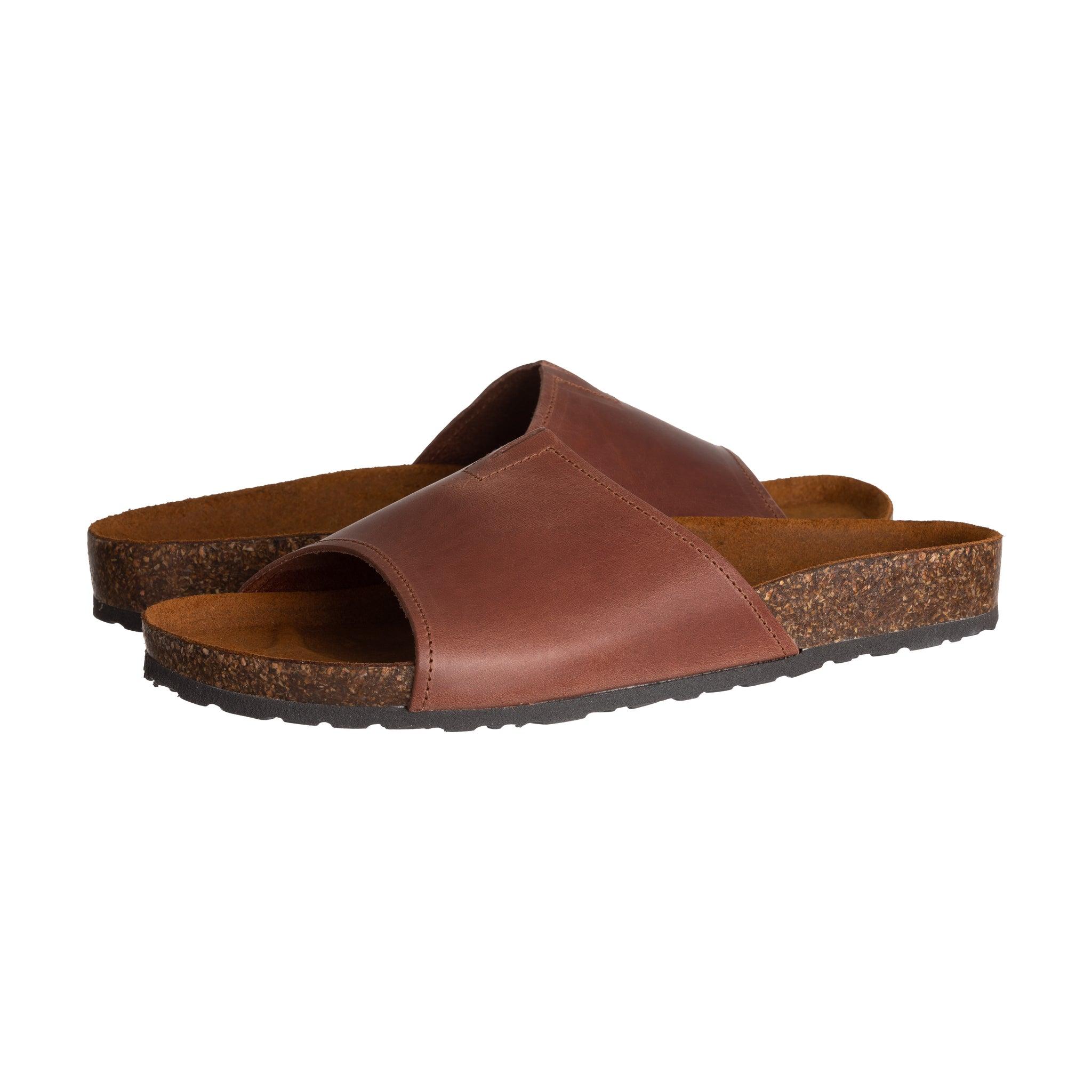 Duccelli Beau Cognac Men's Italian Slip-On Sandal - Discount Italian Shoes