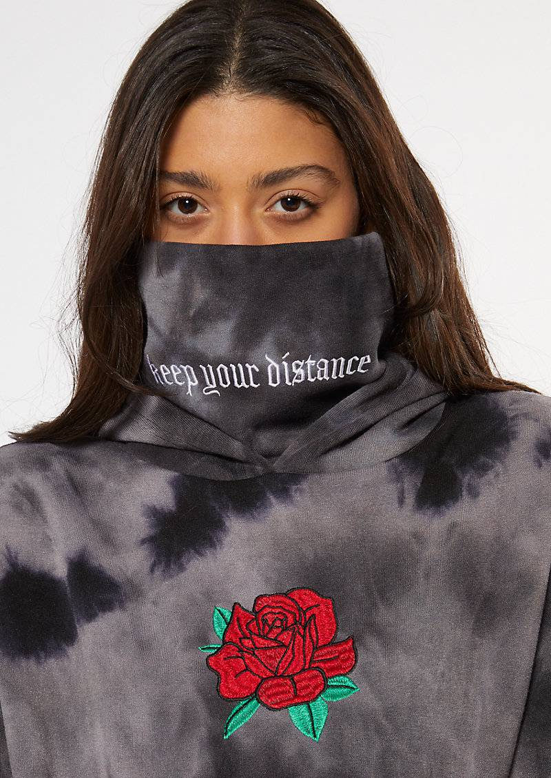 rue21 Black Tie Dye Rose Distance Embroidered Mask Hoodie  - Size: Extra Small