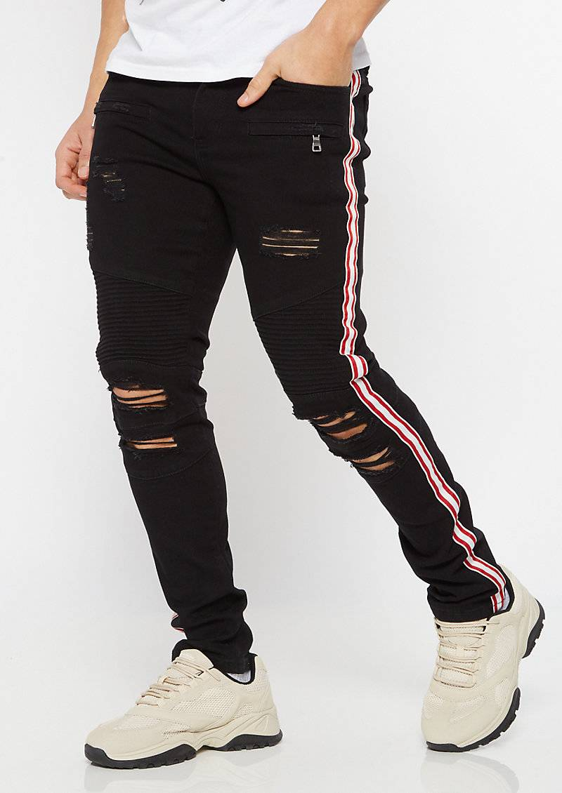 rue21 Supreme Flex Black Double Side Striped Ripped Skinny Jeans  - Size: 30X32