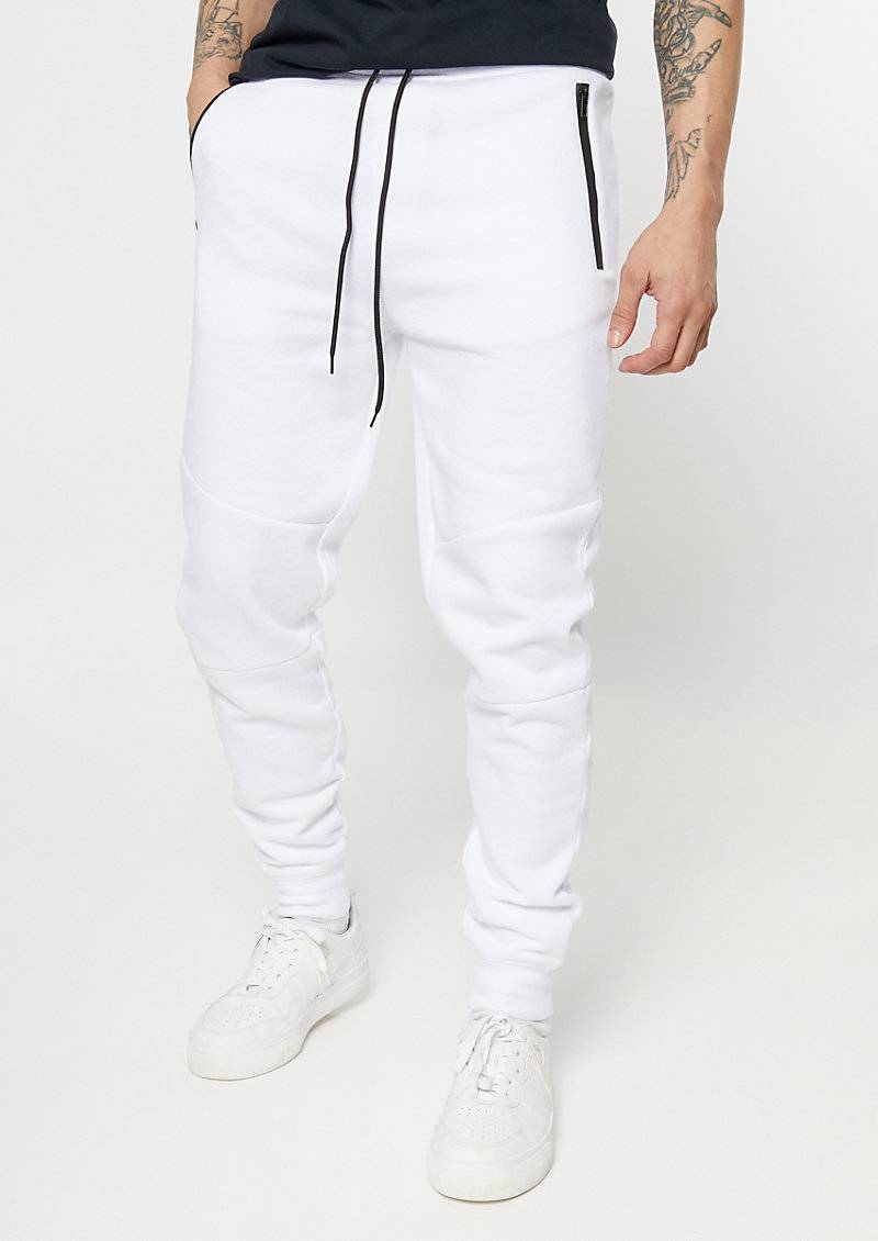 rue21 White Zipper Pocket Athletic Joggers  - Size: Large
