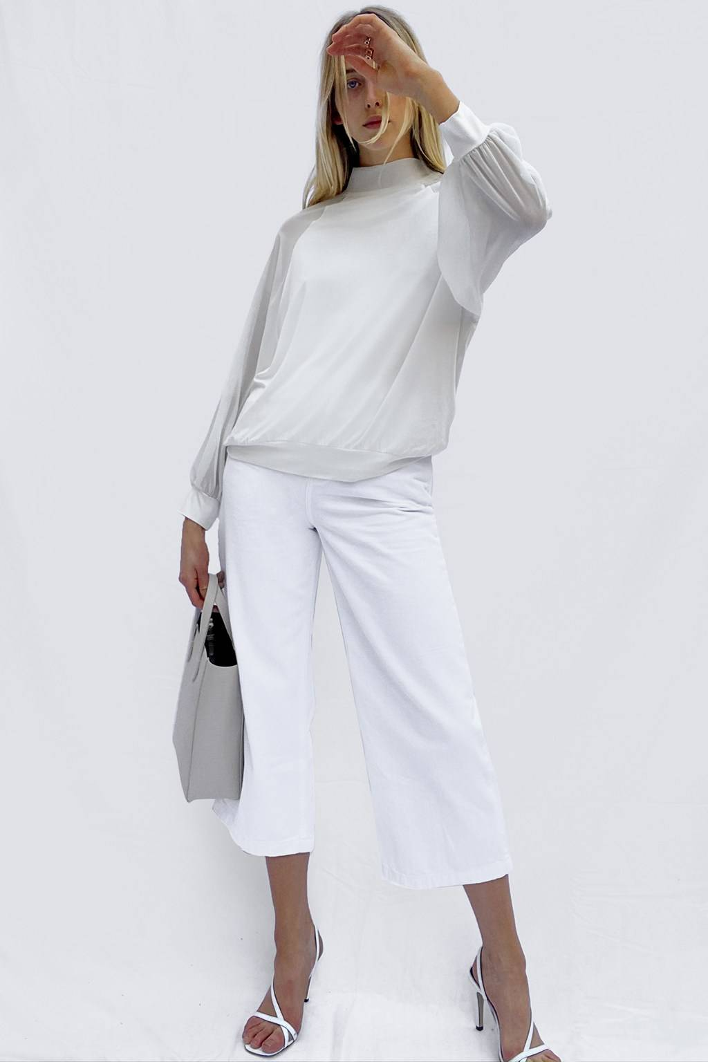 French Connenction Noemi Woven Mix Mock Neck Top
