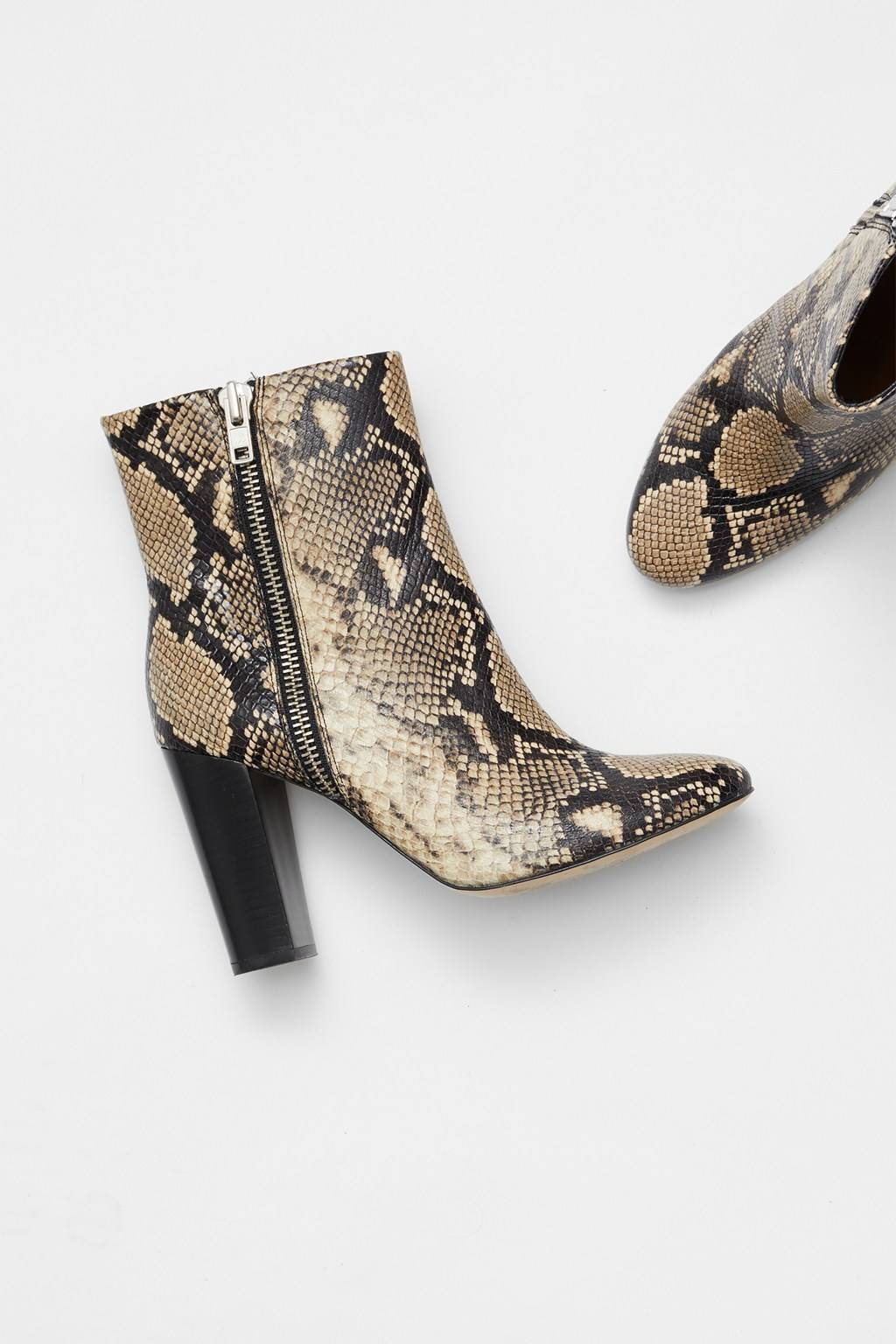 French Connenction Snake Print Zip Ankle Boots