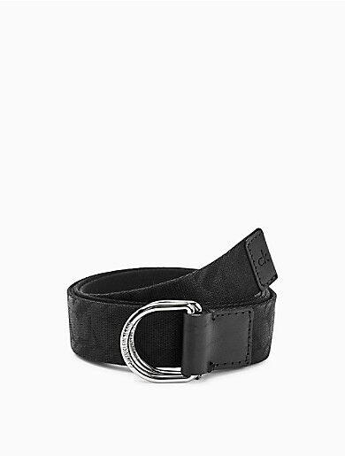 Calvin Klein Nylon Logo Embossed D-Ring Belt