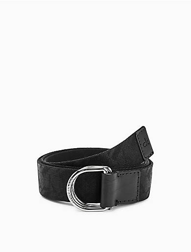 Calvin Klein Nylon Logo Embossed D-Ring Belt