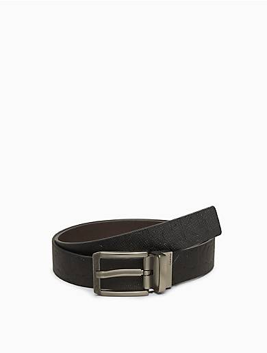 Calvin Klein Reversible Textured Monogram Logo Belt