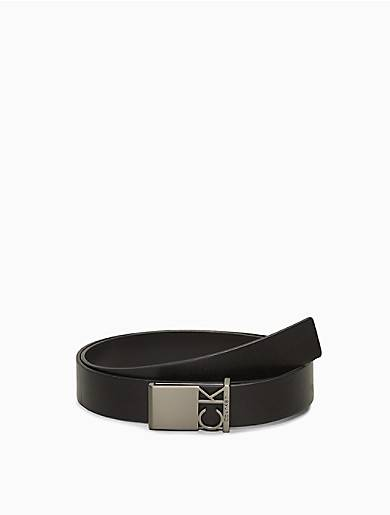 Calvin Klein Caviar Leather Logo Buckle Belt