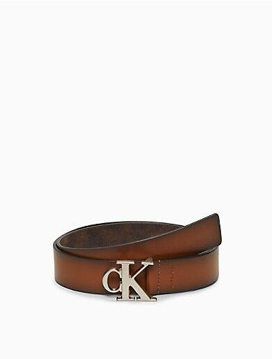 Calvin Klein Monogram Logo Leather Belt