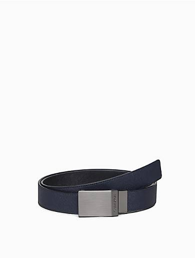 Calvin Klein Saffiano Reversible Plaque Belt