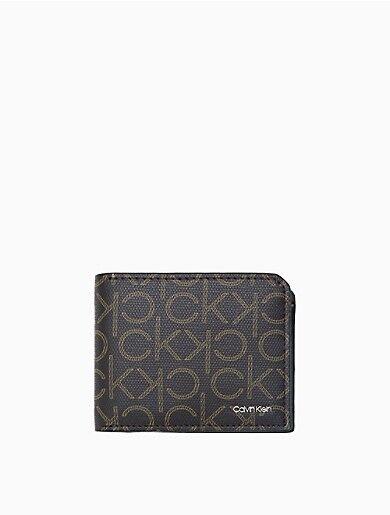 Calvin Klein Monogram Logo Micro Pebble Bifold Wallet