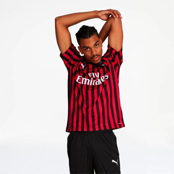 Puma AC Milan Home Replica Soccer Jersey in Tango Red/Black, Size XXL