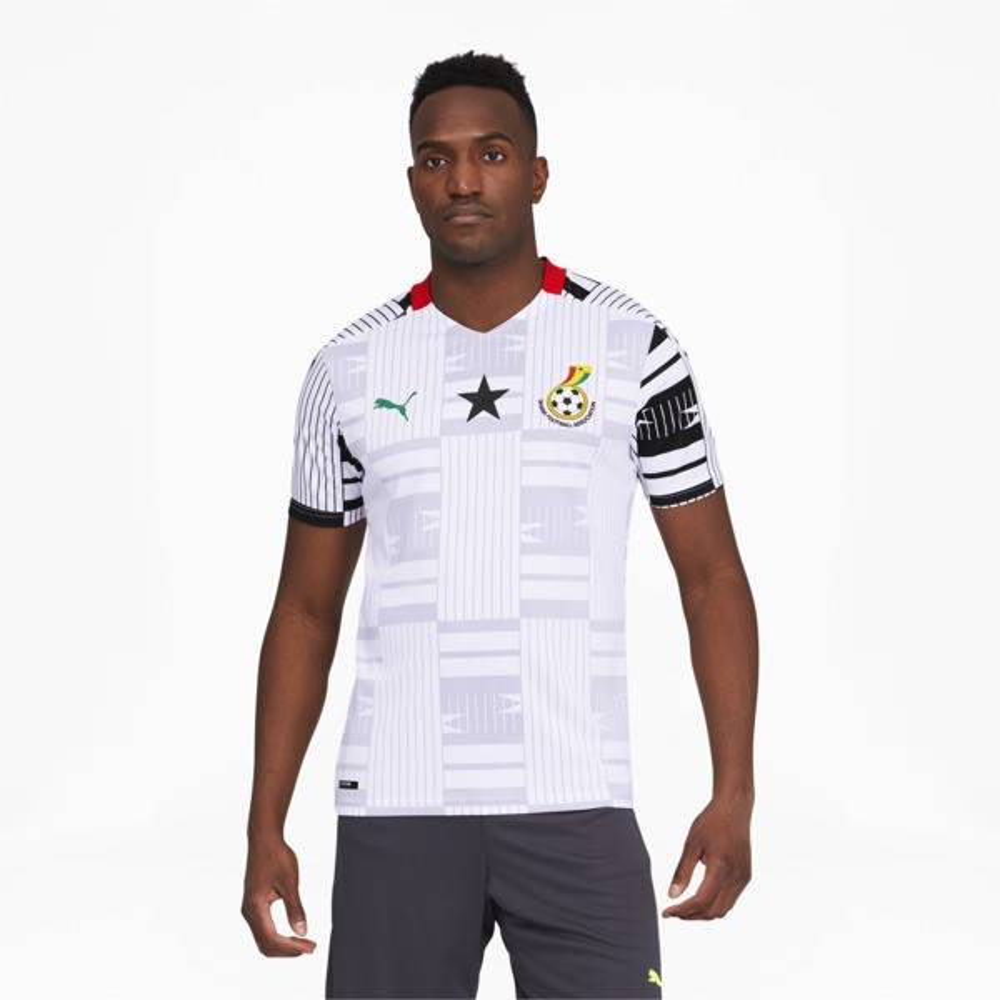Puma Ghana Men's Home Replica Soccer Jersey in White/Black, Size M