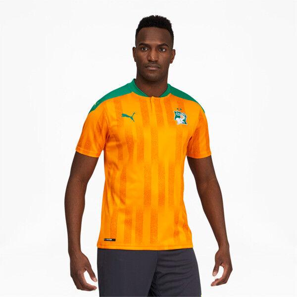 Puma Ivory Coast Men's Home Replica Soccer Jersey in Flame Orange/Pepper Green, Size M