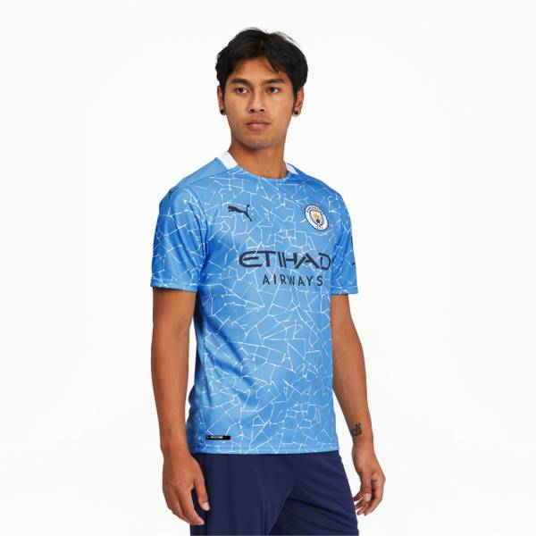 Puma Manchester City FC Men's Home Replica Soccer Jersey in Team Light Blue/Peacoat, Size M