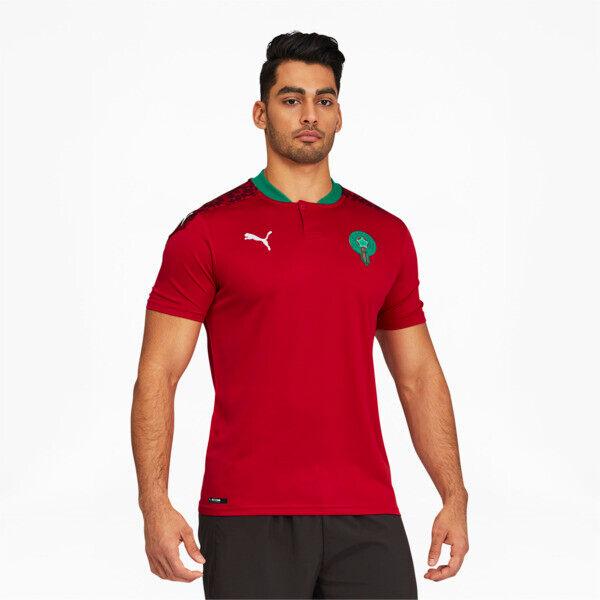 Puma Morocco Men's Home Replica Soccer Jersey in Chili Red Pepper/White, Size XL