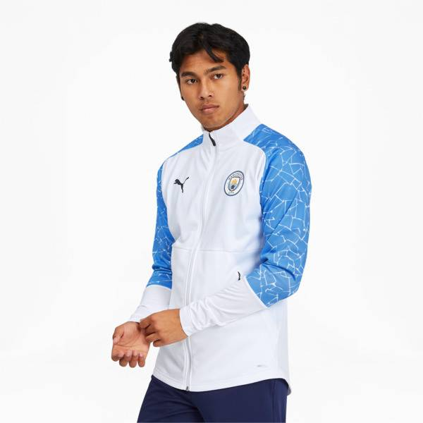 Puma Manchester City FC Men's Stadium Jacket in White/Team Light Blue, Size XS